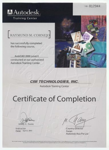 Certificate of Completion - AutoCAD 2000 Level II